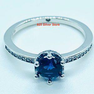 Pandora Blue Sparkling Crown Silver Ring #198289NSWB